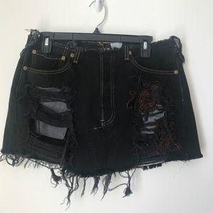 [LF] Furst of a Kind Black Distress Skirt